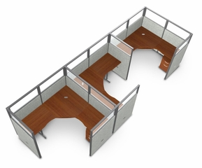 "Cubicle Panel System, 1X3 Layout, 63""H, 72""W, Polycarbonate Panel Tops - OFM - R1X3-6372-P"