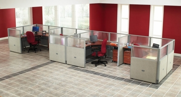 "Cubicle Panel System, 1X4 Layout, 47""H, 72""W, Polycarbonate Panel Tops - OFM - R1X4-4772-P"