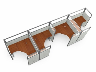 "Cubicle Panel System, 1X4 Layout, 63""H, 60""W, Polycarbonate Panel Tops - OFM - R1X4-6360-P"