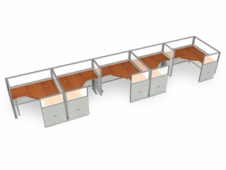 "Cubicle Panel System, 1X5 Layout, 47""H, 60""W, Polycarbonate Panel Tops - OFM - R1X5-4760-P"