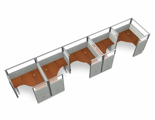"Cubicle Panel System, 1X5 Layout, 63""H, 60""W, Polycarbonate Panel Tops - OFM - R1X5-6360-P"