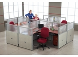 "Cubicle Panel System, 2X2 Layout, 47""H, 72""W, Polycarbonate Panel Tops - OFM - R2X2-4772-P"