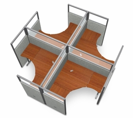 "Cubicle Panel System, 2X2 Layout, 63""H, 60""W, Polycarbonate Panel Tops - OFM - R2X2-6360-P"