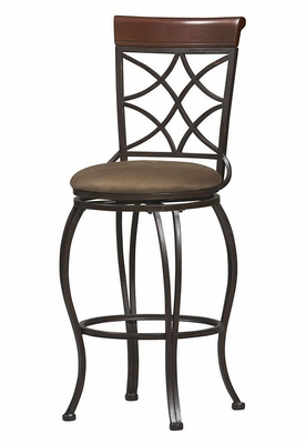 Curves Back Bar Stool - Linon Furniture - 02729MTL-01-KD-U