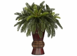 Cycas with Bamboo Vase Silk Plant - Nearly Natural - 6655