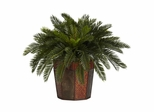 Cycas with Octagon Vase Silk Plant - Nearly Natural - 6654