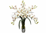 Cymbidium Orchid Silk Flower Arrangement - Nearly Natural - 1184-WH