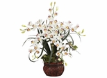 Cymbidium with Decorative Vase Silk Arrangement - Nearly Natural - 1245-WH