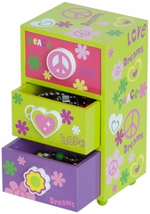 Daisy Peace & Love Jewelry Box in Green - 80824