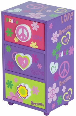 Daisy Peace & Love Jewelry Box in Purple - 80826