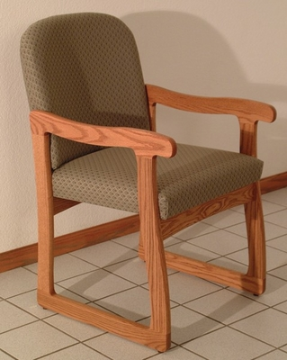 Dakota Medium Oak Sled Base Chair - Wooden Mallet Office Furniture - DW7-1MO