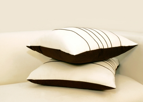 Dale Decorative Pillow in White / Chocolate - DALE-DECOR-PILLOW