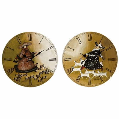 Dames With Dogs Clocks (Set of 2) - IMAX - 37022-2