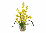 Dancing Lady Orchid Liquid Illusion Silk Flower Arrangement in Yellow - Nearly Natural - 1119-YL