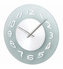Danish Modern Glass Wall Clock with Illusory Warped Numbers - 1135-GSL