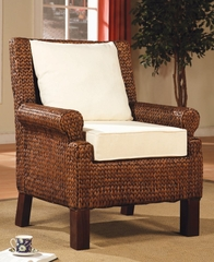 Dark and Light Banana Leaf Weaved Chair - Coaster