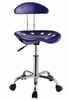 Dark Blue and Chrome Adjustable Height Rolling Chair (Set of 2) - Powell Furniture - 209-257-SET