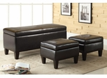 Dark Brown 3PC Storage Bench and Ottoman - 501085
