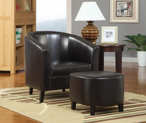 Dark Brown Accent Chair with Matching Ottoman - 900240