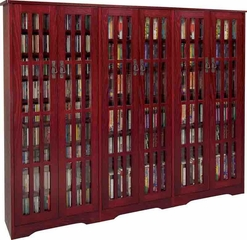 Dark Cherry Mission Style Glass Door DVD Cabinet - Leslie Dame DVD Storage - M-1431DC