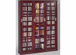 Dark Cherry Mission Style Sliding Glass Door DVD Cabinet - Leslie Dame DVD Storage - MS-1050DC