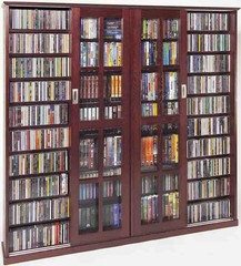 Dark Cherry Mission Style Sliding Glass Door DVD Cabinet - Leslie Dame DVD Storage - MS-1400DC