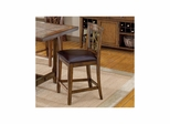 Dark Chestnut Villagio Scroll Back Non-Swivel Counter Stools - Set Of 2 - Hillsdale