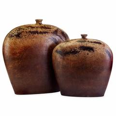 Dark Flat Vessels (Set of 2) - IMAX - 6854-2