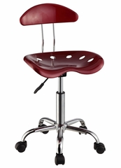 Dark Red and Chrome Adjustable Height Rolling Chair (Set of 2) - Powell Furniture - 210-257-SET