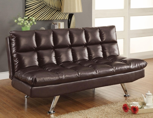 Dark Tri-Tone Brown Vinyl Sofa Bed - 300122