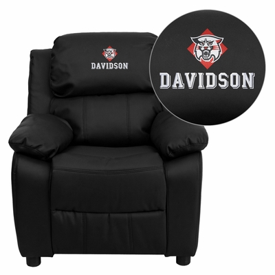 Davidson College Wildcats Leather Kids Recliner - BT-7985-KID-BK-LEA-45008-EMB-GG
