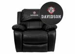 Davidson College Wildcats Leather Rocker Recliner  - MEN-DA3439-91-BK-45008-EMB-GG