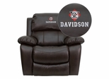 Davidson College Wildcats Leather Rocker Recliner - MEN-DA3439-91-BRN-45008-EMB-GG