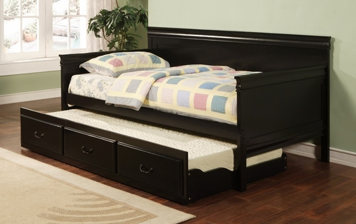 Daybed - Daybed with Trundle in Black - Coaster - 300036BLK