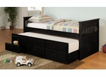 Daybed - Daybed with Trundle in Black - Coaster - 300104