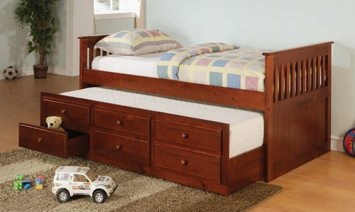 Daybed - Daybed with Trundle in Cherry - Coaster - 300105