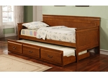 Daybed - Daybed with Trundle in Oak - Coaster - 300036OAK
