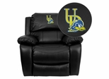 Delaware Blue Hens Embroidered Black Leather Rocker Recliner  - MEN-DA3439-91-BK-40024-EMB-GG