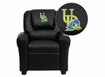 Delaware Blue Hens Embroidered Black Vinyl Kids Recliner - DG-ULT-KID-BK-40024-EMB-GG