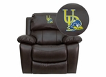 Delaware Blue Hens Embroidered Brown Leather Rocker Recliner  - MEN-DA3439-91-BRN-40024-EMB-GG