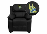 Delaware Blue Hens Embroidered Leather Kids Recliner - BT-7985-KID-BK-LEA-40024-EMB-GG