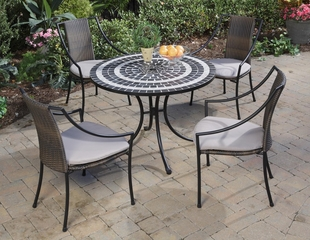 Delmar Outdoor Table and 4 Laguna Dining Arm Chairs - Home Styles - 5602-3080