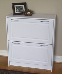 Deluxe Double Shoe Cabinet in White - 4D Concepts - 76455