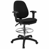 Deluxe Drafting Stool with Black Fabric - KC-B802M1KG-ARMS-GG