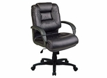 Deluxe Mid Back Executive Leather Chair in Black - Office Star - EX5161-3