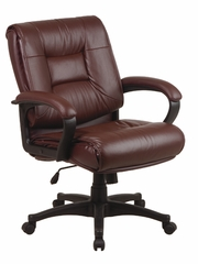 Deluxe Mid Back Executive Leather Chair in Burgundy - Office Star - EX5161-4