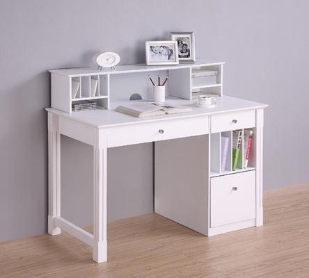 Deluxe Solid Wood Desk with Hutch in White - DW48D30-DHWH