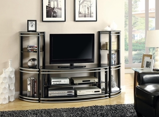 Demilune Black/Silver Finish TV Stand & 2 Media Towers - 700722