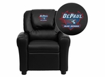 DePaul University Blue Demons Black Vinyl Kids Recliner - DG-ULT-KID-BK-45009-EMB-GG