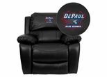 DePaul University Blue Demons Leather Rocker Recliner - MEN-DA3439-91-BK-45009-EMB-GG